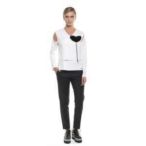 Bluză asimetrică cu umeri decupați, albă