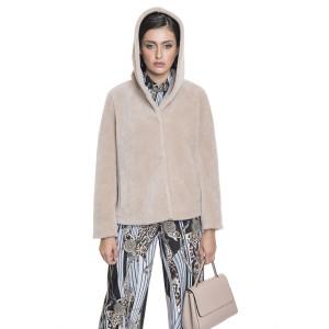 Jacheta din blana naturala din miel Australian, blana tip lana, bej 62 cm