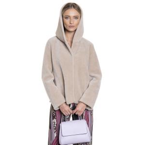 Jacheta bomber din blana naturala din miel Australian, blana tip lana, bej, 62 cm