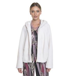 Jacheta bomber, blana naturala din miel Australian, blana tip lana, alb, 62 cm