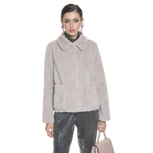Jacheta blana naturala tip lana, din miel Merinos, bej pastel, 62 cm