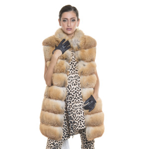 Natural fox fur vest, reddish gold color, 80 cm