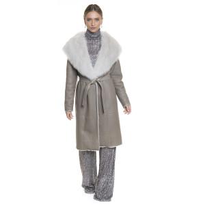 Palton dama de blana naturala miel, reversibil, culoare grej