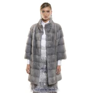 Haină de blană naturală de vizon, culoare speciala gri Sapphire, 82 cm