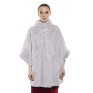 Haină de blană naturală de vizon, striații verticale, mânecă amplă, Silver Gray, 70 cm
