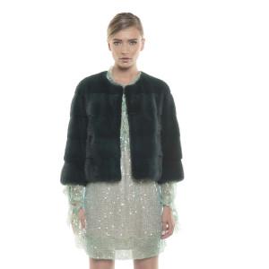 Jachetă de blană naturală de vizon/ nurcă, verde închis, 50 cm
