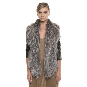 Jachetă de blană naturală de vulpe, tip cartigan, cu mâneci din piele, argintie