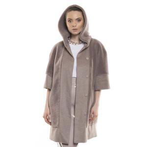 Palton dama din blană naturala de miel Merions în combinație cu cașmir,  roz pudrat, 88 cm