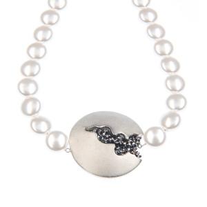 Colier Selena perle Swarovski White Pearl, cristale Swarovski