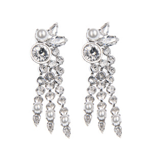 Cercei Kira perle Swarovski White Pearl, cristale Swarovski