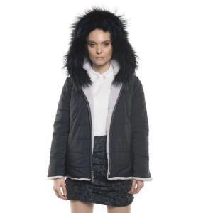 Jachetă de blană naturală de vizon, reversibila, cu glugă, culoare bleumarin, 65 cm