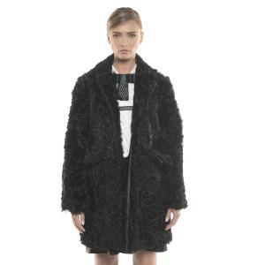Jachetă de blană naturală de Swakara și miel ondulat, neagră, 65 cm