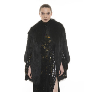 Jachetă de blană naturală de raton, neagră, 70 cm