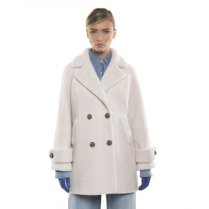Palton de blană naturală de miel Australian, tip lână perlată, off white, 107 cm