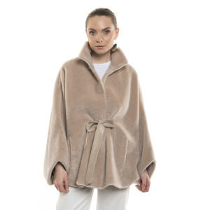 Jachetă tip capa din blană naturală de miel Merinos, blana tip lână, bej, 70 cm