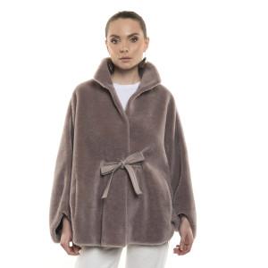 Jachetă de blană naturală de miel Merinos, tip lână, Light Purple, 70 cm