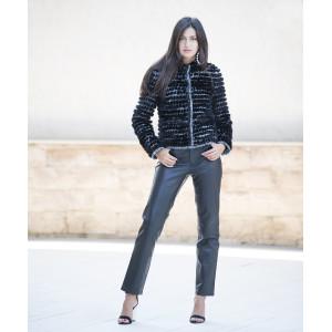 Jacheta scurta din stofa de lana cu insertii vizon negru