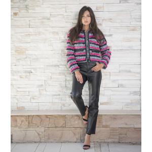 Jacheta scurta din stofa cu insertii din blana vizon, culoare speciala fucsia