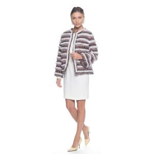 Jacheta stofa cu insertii de blana naturala vizon alb
