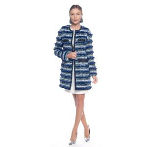 Jacheta din stofa de lana cu insertii vizon, lungime medie, culoare speciala albastru Indigo