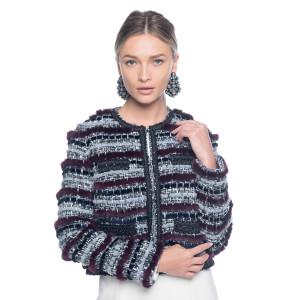 Jacheta stofa cu insertii de blana naturala vizon, culoare speciala grena