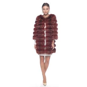 Haina blana naturala vulpe pe suport lana 100%, culoare speciala Cinammon