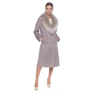 Palton de casmir cu guler amplu de lynx