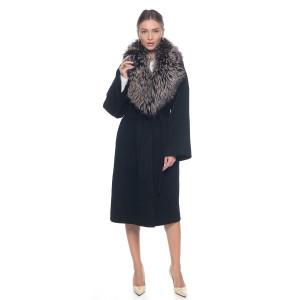 Palton casmir negru cu guler amplu de  blana naturala vulpe argintie