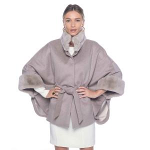 Jacheta tip capa din casmir 100% + blana rex chinchilla, light gray