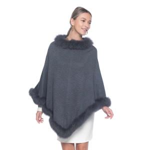 Capa tip Poncho din lana 100% cu  blana naturala vulpe, gri cenusiu