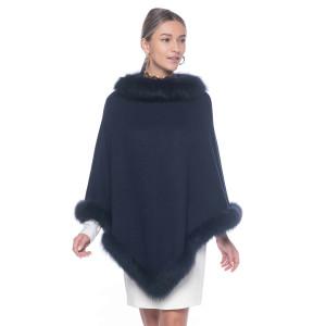 Capa tip Poncho din lana 100% cu blana naturala vulpe, albastra indigo