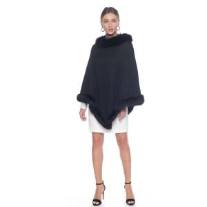 Capa tip Poncho lana 100% neagra cu blana naturala vulpe