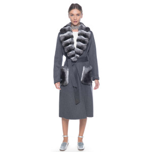 Palton dublu casmir 100% cu guler si buzunare de chinchilla. 100cm. gri