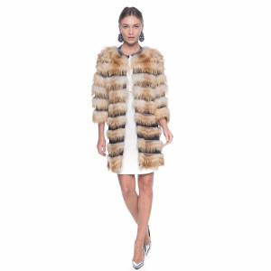 Haina blana naturala vulpe aurie, pe suport textil