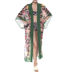Kimono deschis Feline Moves Roses, voal transparent