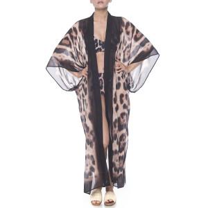 Kimono deschis Feline Moves bordura maro, voal transparent