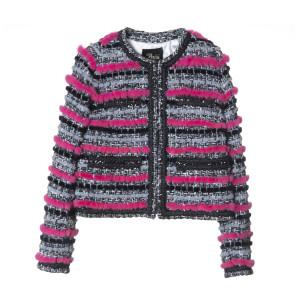 Jacheta scurta din lana cu insertii de blana vizon culoare speciala fucsia