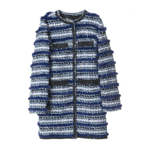 Jacheta din stofa cu insertii vizon, lungime medie, culoare speciala albastru Indigo