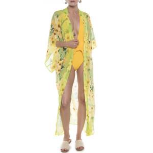 Kimono deschis Margarete galbene, voal transparent