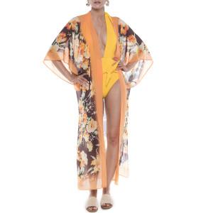 Kimono deschis Dancing Flowers, bordura portocalie, voal  transparent