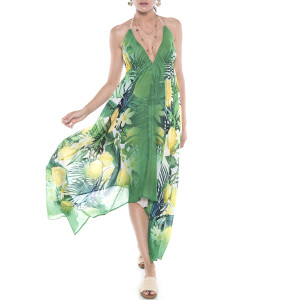 Rochie asimetrica Sweet Lemonade, bordura verde, voal transparent