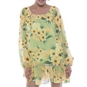 Rochie mini voal Sun Flower Bloom, maneci bufante