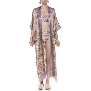 Kimono deschis, matase 100%, imprimeu Tropical Breeze bordura mov pal