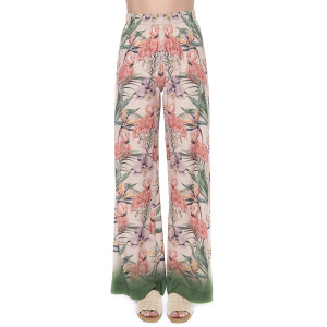 Pantaloni lungi Tropical Breeze, voal, bordura verde