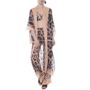 Kimono deschis, voal, imprimeu Feline Moves, bordura bej
