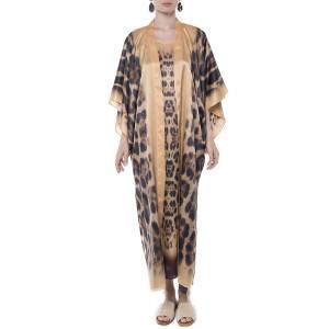 Kimono deschis, matase 100%, imprimeu Feline Moves bordura bej