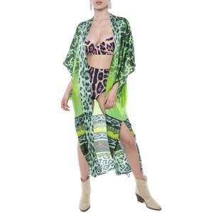 Kimono deschis, matase 100%, imprimeu Green Jewel