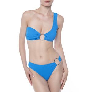 Costum baie 2 piese Blue Waves, sutien bustiera pe un umar cu inel, slip brazilian cu inel