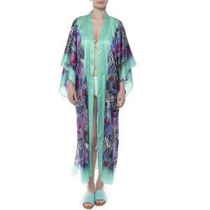 Kimono deschis, matase 100%, imprimeu Zebra Vibe