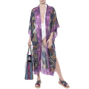 Kimono deschis, matase 100%, imprimeu Caleidoscop